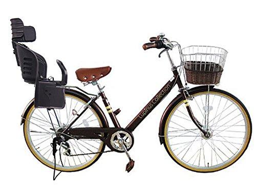 Lupinusルピナス 自転車 26インチ LP-266VA-KNRJ-BK シティサイクル Vフレーム 籐風カゴ オートライト 樹脂製後子乗せブラック B073LNSNJP ブラウン ブラウン
