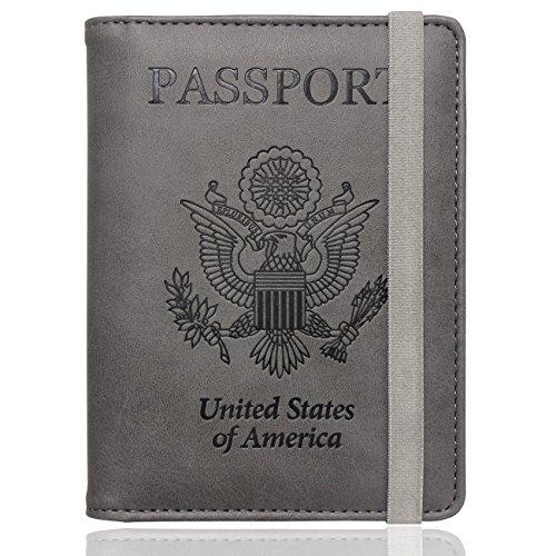 WALNEW RFID Passport Holder Cover Traveling Passport Case (Gray)