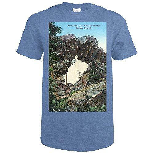 Boulder, Colorado - Royal Arch Near Chautauqua Grounds View - Vintage Halftone (Heather Royal T-Shirt XX-Large)