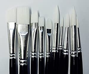 paintbrush photography black and white. 10 x face painting brushes round and flat tip art paint brush glitter quality paintbrush photography black and white s