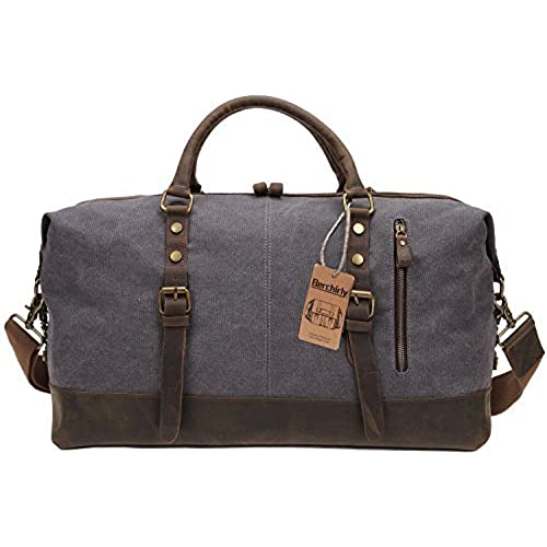 7c76a3cb999 50%OFF Berchirly Oversized Canvas Leather Trim Travel Tote Duffel Shoulder  Handbag Weekend Bag Outdoor