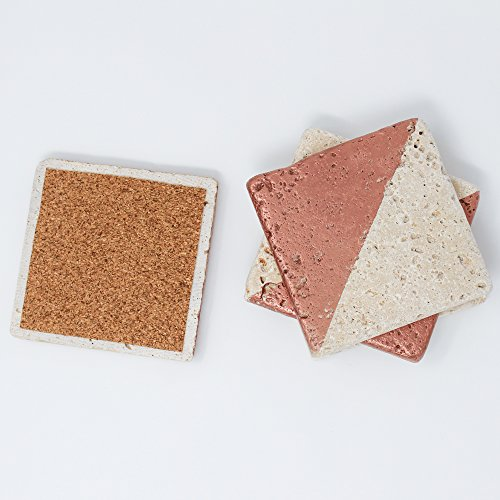 Rose Gold Painted Ivory Travertine 4'' X 4'' Coasters Each Piece Unique Natural Stone Absorbent Coasters Blank Tumbled Stone Tiles Set of 4 Coasters / Home Decor / Wedding Gift (4' Tumbled Marble)