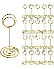 Somubi Place Card Holders 20Pcs, Cute Table Number Holders, Table Card Holder Table Picture Stands, Wire Photo Holder Menu Memo Clips, Idea for Wedding, Anniversary Party (Gold)