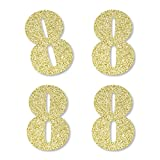 Gold Glitter 8 - No-Mess Real Gold Glitter Cut-Out Numbers - 8th Birthday Party Confetti - Set of 24