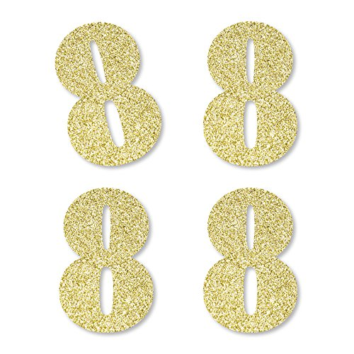 Gold Glitter 8 - No-Mess Real Gold Glitter Cut-Out Numbers - 8th Birthday Party Confetti - Set of 24 by Big Dot of Happiness