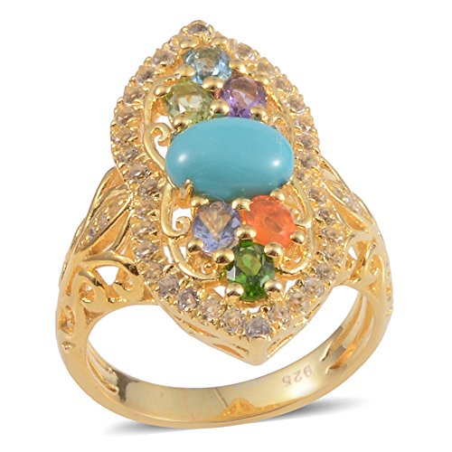 14k Gold Multi Gemstone Ring - Sleeping Beauty Turquoise Multi Gemstone 14K Gold Silver Blue Ring For Women 2.4 cttw. Size 7