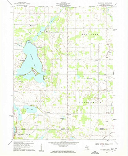 YellowMaps California MI topo map, 1:24000 Scale, 7.5 X 7.5 Minute, Historical, 1960, Updated 1962, 26.8 x 22 in - Paper