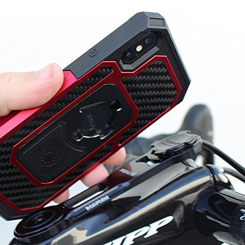 Rokform Fuzion Pro Series [iPhone X/XS] Protective Aluminum & Carbon Fiber Magnetic case with Twist Lock Insert Included (Red) by Rokform (Image #4)