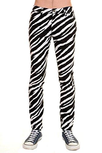 Run & Fly Mens Indie Rock Black & White Zebra Stretch Skinny Jeans 32 Long]()