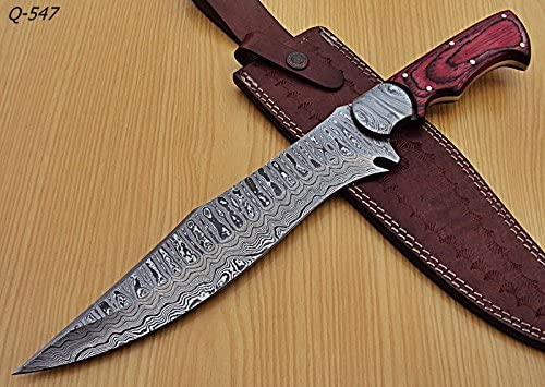 REG-Q-547 Handmade Damascus Steel 15 inches Hunting Knife – Perfect Grip Compact Wood Handle with Damascus Steel Bolsters