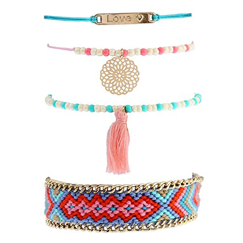 Indian Girl Costume Diy (Boho Multilayer Handmade Colorful Tassel Bead Charms Gold Bracelet Set for Women (bohemian tassel style B))