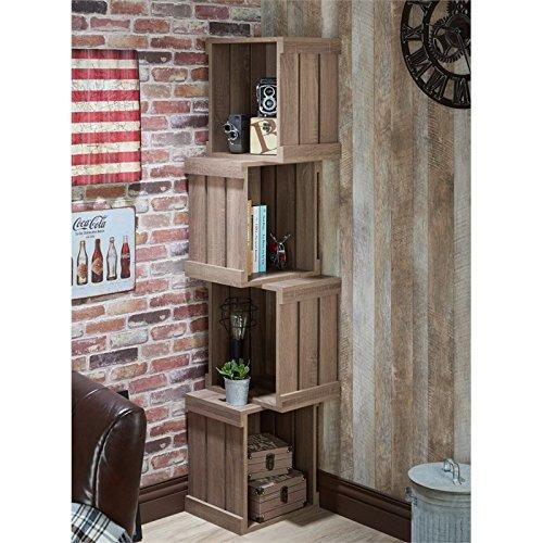 Furniture of America Forlan Bookcase in Warm Chestnut Rustic Corner Bookcases