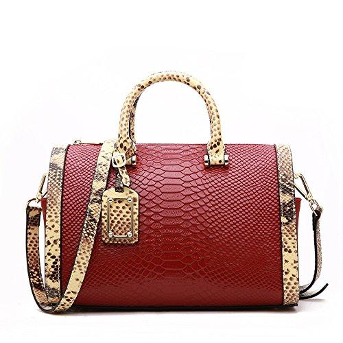 GUANGMING77 Single Schultertasche Tasche Bag_Sommer Boston Schlange Schulter Hand Claret 9PufKN