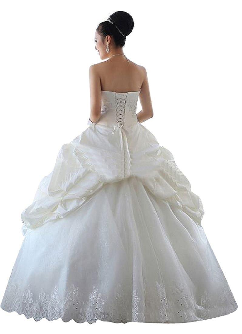 Beauty-Emily Prinzessin Kleid trägerlos Hochzeit Ballkleid für ...