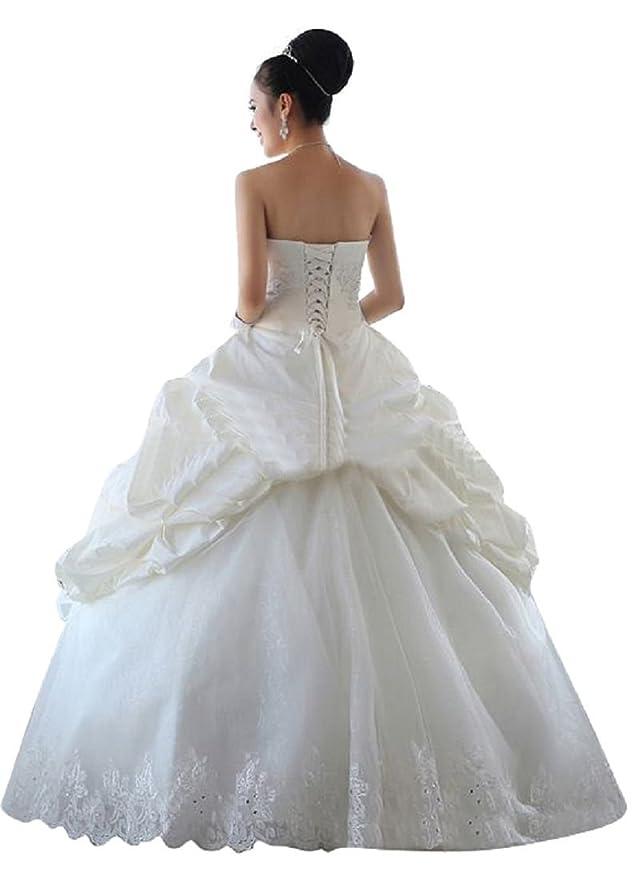 Beauty-Emily trajes de novia sin tirantes para vestido de diseño de princesas Disney para cordones de zapatos diseño de vestido de fiesta vestir de novia: ...