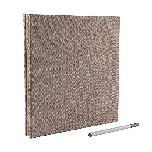 Self Adhesive Photo Album Magnetic Scrapbook Album 40 Pages Linen Hardcover Length 11 x Width 10.6 (Inches) with A Metallic Pen and Photo Album Storage Box DIY Accessories Kits (Yellow) ()
