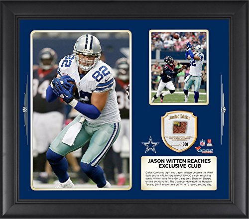 Jason Witten Dallas Cowboys Becomes Third Tight End To Reach Exclusive 10,000 Career Receiving Yards Club 15 X 17 Collage With Game Used Football - Fanatics Authentic - Sports Dallas Careers