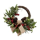 Your Heart's Delight 18'' x 9'' x 9'' Christmas Wreath with Bells, Pinecones and Burlap Bow Wall Hanging