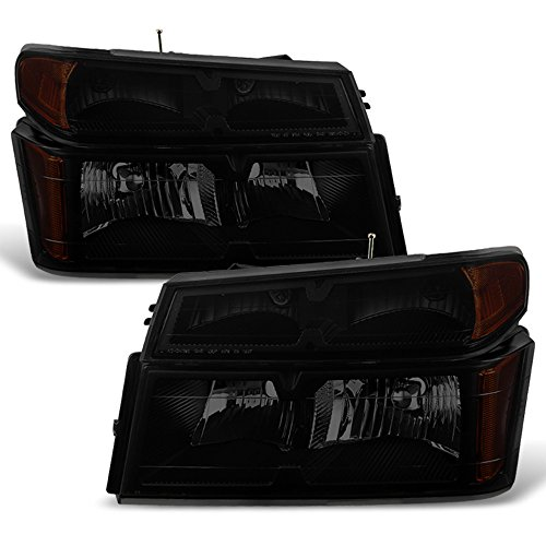 ACANII - For 2004-2012 Chevy Colorado GMC Canyon Black Smoke Headlights w/Corner Lights Parking Lamps [4PC Set] LH+RH