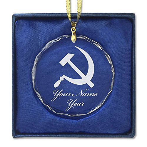 Round Crystal Christmas Ornament - Hammer and Sickle - Personalized Engraving Included (Ornaments Christmas Communist)