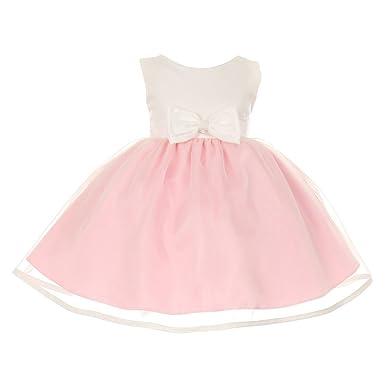 1a0339f7286 Cinderella Couture Baby Girls Pink Ivory Satin Organza Bow Headband Dress 6M