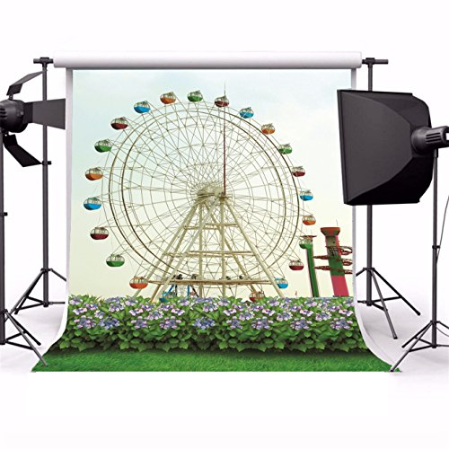 AOFOTO 8x8ft Photography Backdrop Backgrounds Amusement Park Ferris Wheel Flower Grass Floor Newborn Boy Lovers Toddler Kid Baby Girl Portrait Seamless Holiday Scene Photo Shoot Studio Props Video - Park Scene