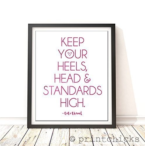 Keep Your Heels, Head & Standards High Hot Pink Foil Print - Co Co Chanel Inspirational Quote - PrintChicks Metallic Modern Art - Chanel Stock