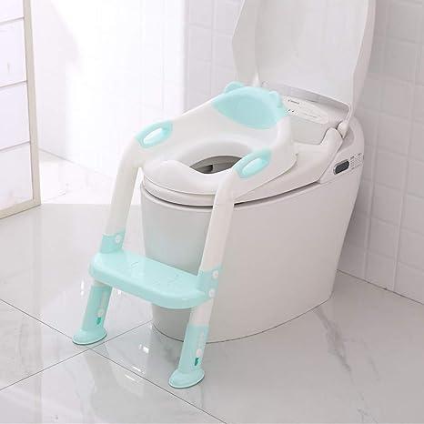 Reductor WC, Sunzit Aseo Asiento con Escalera Orinales para Niños Asiento para Inodoro de Bebe Orinal Infantil Formación Antideslizante Plegable Altura Ajustable Reductor - Azul: Amazon.es: Bebé