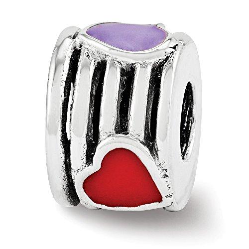 (Sterling Silver & Multicolor Enamel Striped Triple Heart Bead Charm)