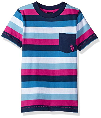 U.S. Polo Assn. Boys Short Sleeve Striped Crew Neck Pocket T-Shirt