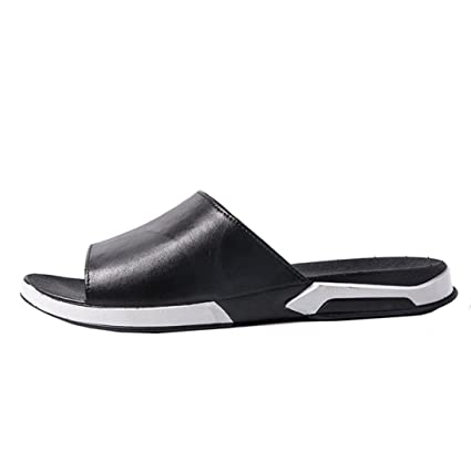 60863fae461873 Fheaven Men Women s Casual Beach Breathable Slipper Sandals Summer Home  Flat Flip Flops Shoes (Black