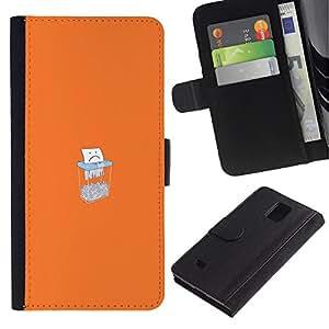LECELL--Cuero de la tarjeta la carpeta del tirón Smartphone Slots Protección Holder For Samsung Galaxy Note 4 IV -- Triste Triturado De Papel --