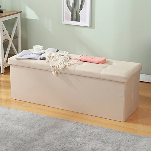 Dland Folding Storage Ottomans 45*15*15 inch, Durable Faux Linen, Storage Bench/Footrest/Padded Seat, ALD-2003-8 Beige, 1 pack