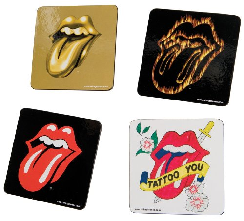 Vandor 33085 Rolling Stones 4-Piece Wood Coaster Set, Multicolored