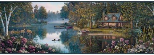 York Wallcoverings bp8378bd瞑想湖Border、ベージュ