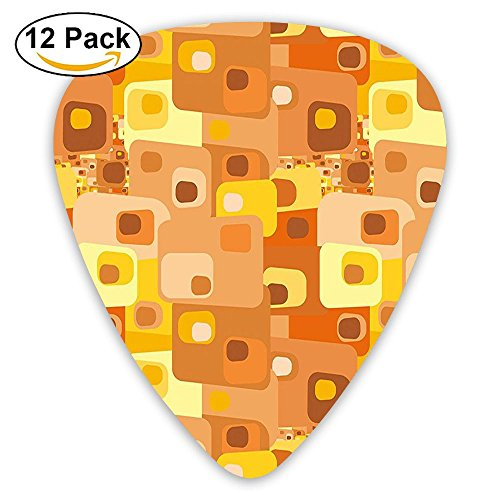 Newfood Ss Abstract Square Pattern Rounded Funky Geometric Guitar Picks 12/Pack Set