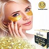 QVENE 25 Pares Mascarilla Hidratante Contorno Ojos de Colágeno con Partículas de Oro 24K para eliminar Arrugas, Ojeras, Bolsas e Hinchazón debajo de los Ojos - Parches Ojos y 6 Parches Detox Pies de Obsequio.