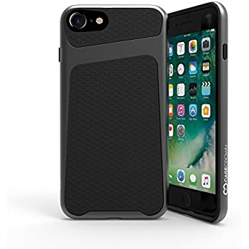 iPhone 8 Case / iPhone 7 Case, CaseCrown Telex 2-Piece Metallic PC & Geometric Print TPU Case (Black / Space Gray)