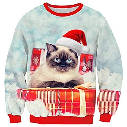 Men Women Ugly Christmas Sweater Xmas Sweatshirt Red Santa Cat Gift Print Xmas Pullover Sweatshirt for Women Men