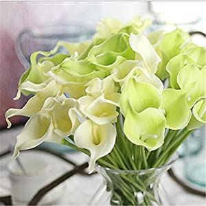 JJH Artificial Flowers 10Pcs Branch Real Touch Calla Lily Tabletop Flower 93