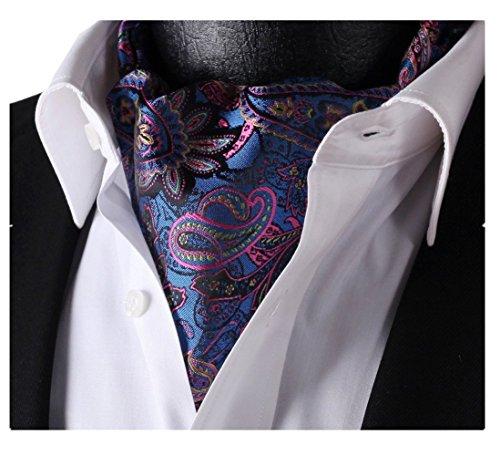 Ascot Tie (Lingswallow Men's Floral Paisley Jacquard Woven Self Cravat Tie Ascot)
