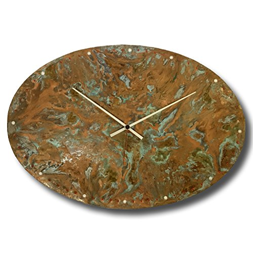 Large Copper Wall Clock 20-inch - Oval Decorative Rustic Metal Original - Silent Non Ticking Quartz for Home