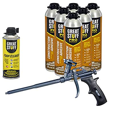 Dow Great Stuff PRO Wall and Floor Kit, 6-26.5oz Wall & Floor, 1 Teflon Coated AWF Pro Gun, 1 Can Cleaner