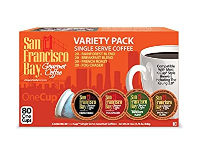 an Francisco Bay Onecup Variety Pack Coffee - 80 Count Onecup For K-cup Brewer - Caffeinated - Breakfast Blend Rainforest Fog Chaser French Roast