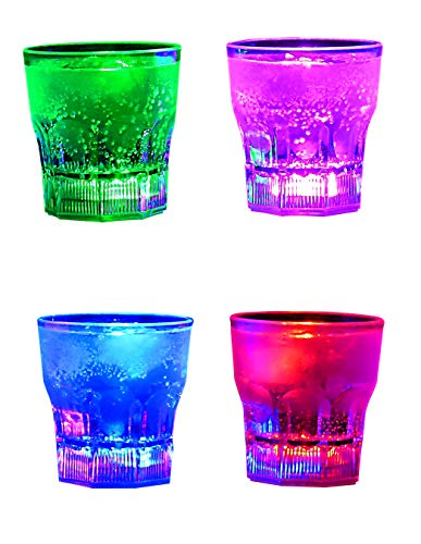Perfect Pregame LED Light Up Drinking Glasses - 4 Pack Light Up Cups - Multi-color Button Controlled LED Cups - 4 Pack Light Up Drinking Glasses