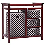 Cherry Wood Changing Table Costzon Baby Changing Table, Infant Diaper Changing Table Organization, Diaper Storage Nursery Station with Hamper and 3 Baskets (Cherry+Brown)