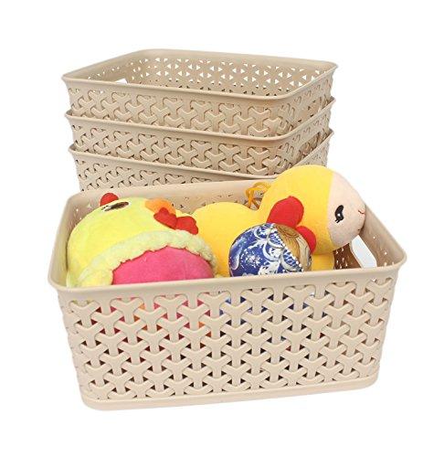 Honla Weaving Plastic Storage Baskets/Bins Organizer with Handles,Set of 4,Tan/Khaki
