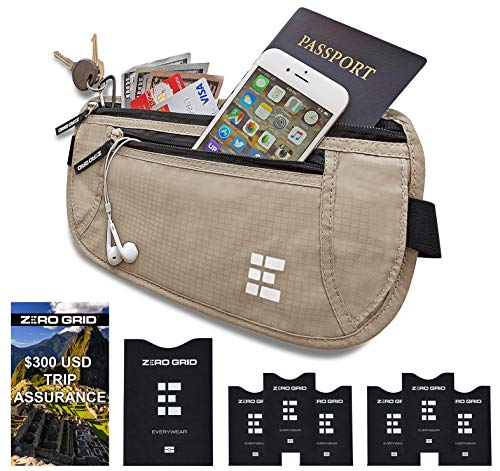 - Zero Grid Money Belt w/RFID Blocking - Concealed Travel Wallet & Passport Holder