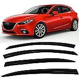 Window Visors Fits 2014-2017 Mazda 3 | Smoked Aero JDM Deflectors Stick On Sun Rain Wind Window Guards by IKON MOTORSPORTS | 2015 2016