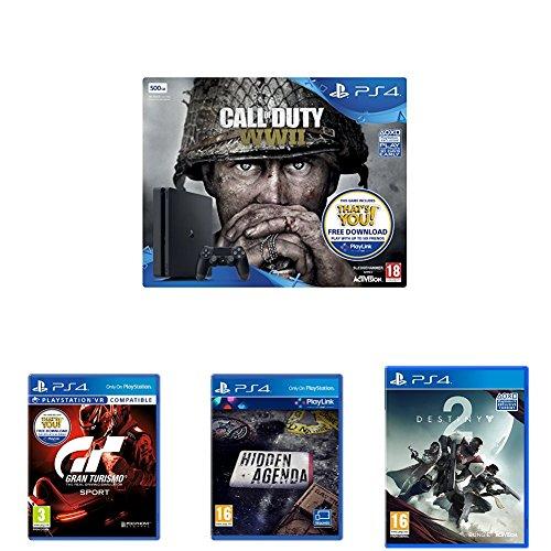 Sony PlayStation 4 (500GB) with Call of Duty: WW2 + Gran Turismo Sport + Hidden Agenda + Destiny 2